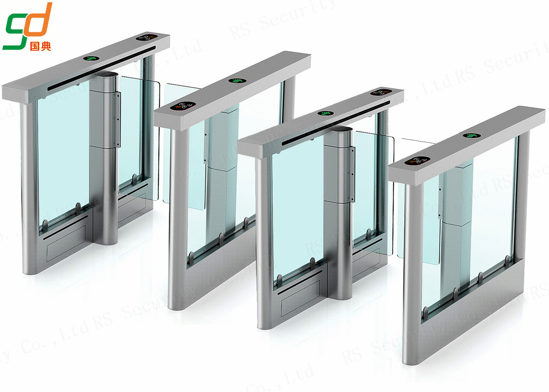 Stainless Steel Automatic Turnstiles Swing Doors , Wing Style Optical Turnstile Barrier