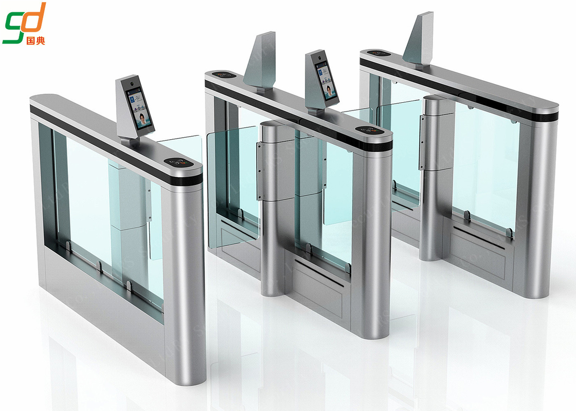 Facial Recognition Supermarket Swing Gate,Barcode Glass Turnstile Barrier